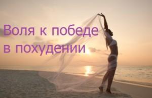 надпись воля к победе в похудении на фото девушки на морском берегу